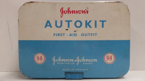 VINTAGE JOHNSONS AUTOKIT CAR MEDICAL FIRST AID OUTFIT TIN  AUTO COMPLETE CONTENT