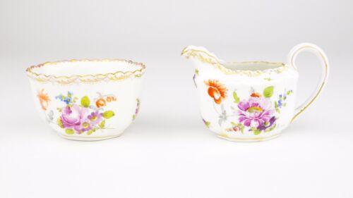 Dresden Creamer and Sugar Bowl Floral Pattern Gold Gilding German Porcelain RK