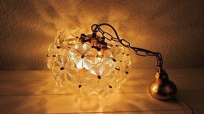 Ernst Palme Westheim Decken Lampe Blütenlampe Glas Messing '60er Jahre