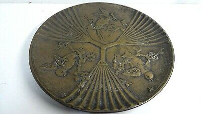 ANTIQUE HEAVY CAST BRONZE JAPANESE PLATE - EMBOSSED BIRDS FANS CHERRY BLOSSOM