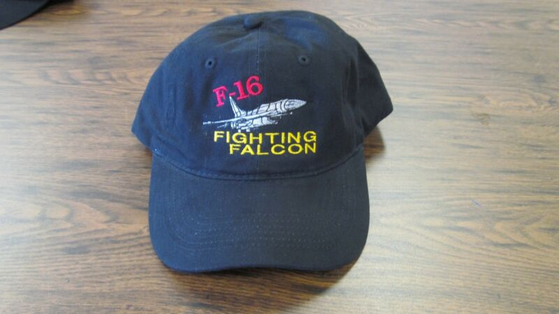 F-16 Fighting Falcon Military Aircraft Embroidered Navy Hat
