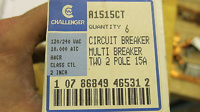 6 Challenger A1515ct Two 2 Pole 15 Amp Multi Breaker New