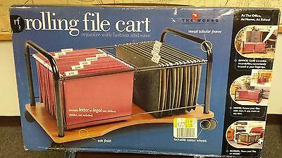 Rolling File Cart W Oak Bottom And Metal Frame