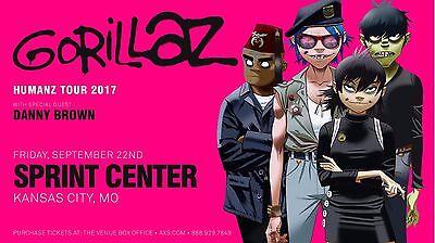 "GORILLAZ ""HUMANZ  TOUR 2017"" KANSAS CITY CONCERT POSTER - Damon Albarn, Alt Rock"
