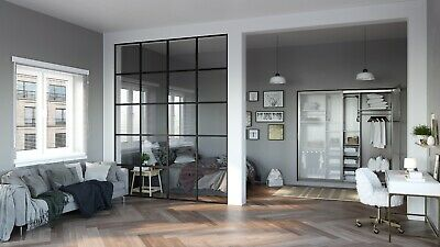 Steel Partition Room Divider 8 X 10 Black Color By Crystalia Glass