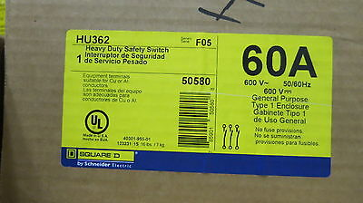 Square D HU362 60 Amp 600 Volt NEMA 1 Disconnect , F Series *NEW*