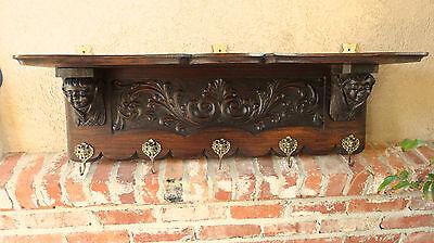 Antique French Victorian Carved Dark Oak Wall Shelf Coat Kitchen Rack w BRASS