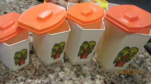 Vintage Set of 4 Retro Nesting Cream Canisters & Orange Lids Hard Plastic
