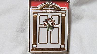 Elegant Christmas Holiday Card Invitations-DESIGNER-Bright Gold-Front Door Opens