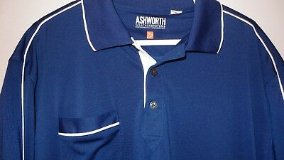 Ashworth Weather Systems Short Sleeve Polo Shirt Men's XL Blue w/White Accents ()