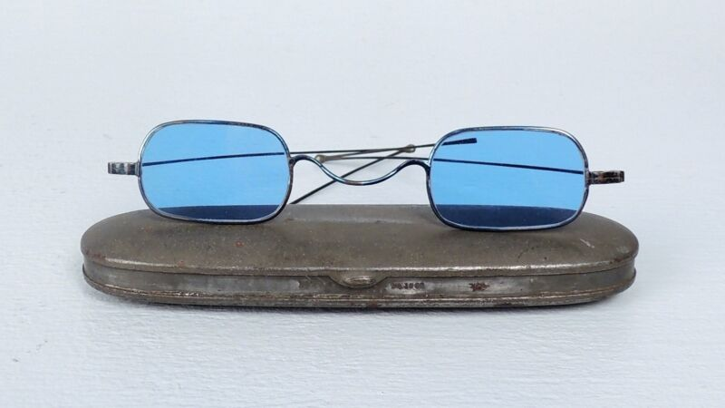 Antique Civil War Era Sun Glasses - Blue Glass Spectacles W Signed Case - VR