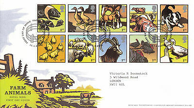 11 JANUARY 2005 FARM ANIMALS ROYAL MAIL FIRST DAY COVER PADDOCK HUDDERSFIELD SHS