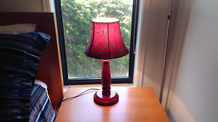 2 burgundy / red bedside lamps timber