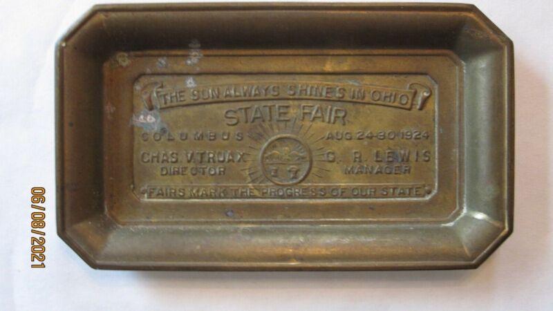 OHIO STATE FAIR 1924 BRASS TRAY COLUMBUS