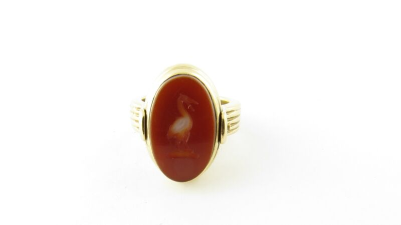 Vintage 14 Karat Yellow Gold Onyx and Carnelian Flip Ring Size 4.5 #4346