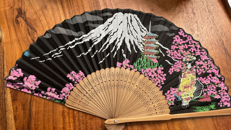 Vintage Wood Carved Japanese Paper Fan Bamboo Filigree Mt. Fuji  Cherry Blossoms