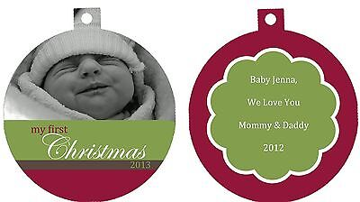 Personalized Ornament custom gift idea first Christmas baby photo black white