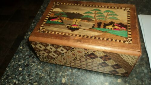 Japanese Puzzle box 7x5x3 inches. For parts or repair ONLY