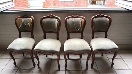 4 X Lovely Vintage Style Shabby Chic Dining Chairs By Casa Mia