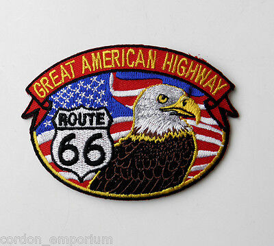 - ROUTE 66 GREAT AMERICAN HIGHWAY USA EAGLE EMBROIDERED PATCH 3 INCHES
