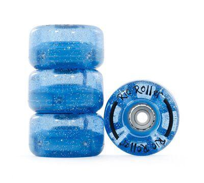 Rio Roller - Light Up Flashing Wheels - Blue Glitter- Skate Wheels - 4 Pack