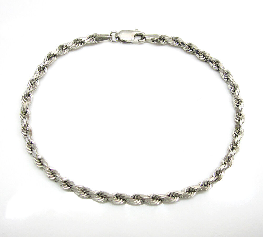 This 10k White Gold Rope Bracelet Is Available In Diffe Lengths From 7 Inches To 8 The Item Weighs 1 82 Grams 2 08 Depending On