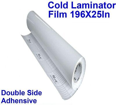 1 Roll Transparent Double Sided Adhesive Pressure196x25inch Cold Laminating Film