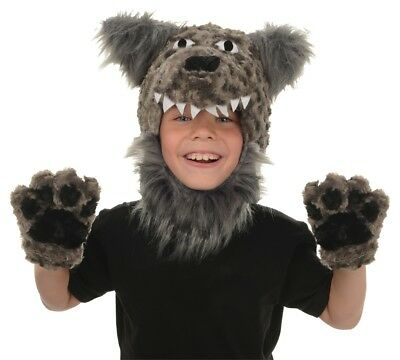 Wolf Animal Pack Costume Plush Headpiece With Soft Mitts Halloween Underwraps - Wolf Pack Costume