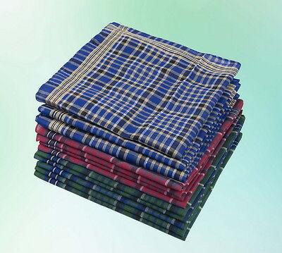 Herren Taschentuch Kariert  Tuch Tücher 12 Stück 39 * 39 cm Packung NEU