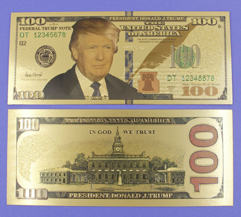 Lot 10 Pcs US President Trump $100 Gold Plated Banknotes Paper Money Crafts