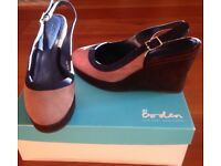 NEW Boden ladies wedge suede shoes size 38 in caramel,brown and blue