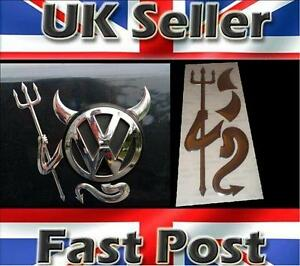 3D-Dome-Devil-Demon-Car-Sticker-Decal-Badge-Silver-Chrome-Effect-VW-T4-T5-GOLF