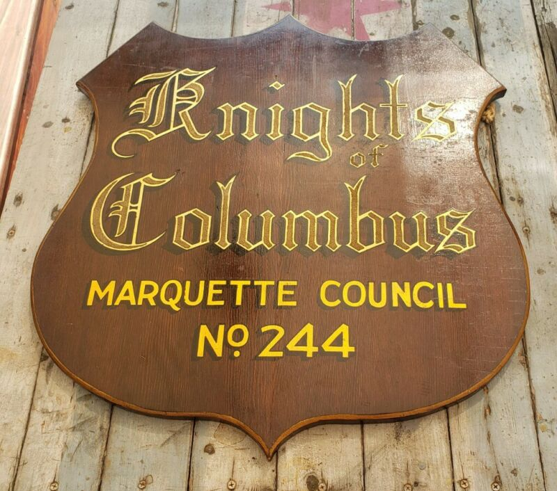 Vintage Knights of Columbus Sign Marquette Council GOLD Painted Lettering