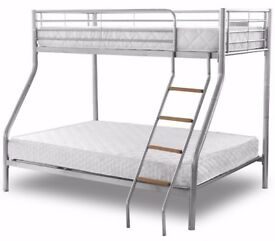 ❋★❋DOUBLE BOTTOM & SINGLE TOP ❋★❋STRONG QUALITY TRIO METAL BUNK BED FRAME WITH MATTRESS OPTION