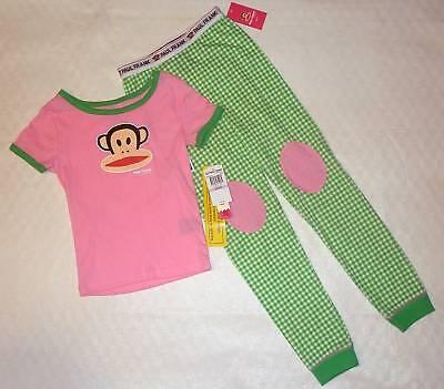 Monkey Pink Girls Pajamas - Paul Frank Julius Monkey Pink Green Gingham Shirt Pants Pajamas Toddler Girls 2T