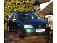 VW TOURAN TDI S 1.9 Diesel Amazon Green 7 seater FSH 9 months MOT Ex Cond Tow bar DVD player