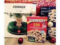 Christmas Tree Stand and Lights Bundle