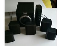 FIVE SPEAKER SURROUND SOUND SYSTEM WITH SUB WOOFER