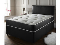 7 FOOT BY 6 FOOT EMPEROR DIVAN BED WITH 4 DRAWERS IN BLACK LEATHER – MATTRESS AND MEMORY FOAM TOPPER