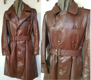 Oakville RARE MENS M 40 VINTAGE LEATHER TRENCH COAT MINT Brown Excellent Retro Genuine 1970s Canada Mac Mor Free Scarf