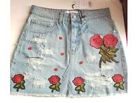 EMBROIDERY DENIM JEANS SKIRT SIZE 8