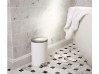10 Litre SIMPLE HUMAN Pedal Bin Bathroom. White and Chrome. Pull out inner. 10L