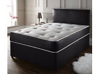 DOUBLE & SMALL DOUBLE SEMI ORTHOPAEDIC MATTRESS DIVAN BED AVAILABLE IN BLACK & WHITE COLOUR