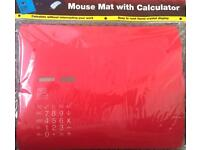 SOLAR POWERED 2 IN 1 CALCULATOR AND MOUSE MAT - RED