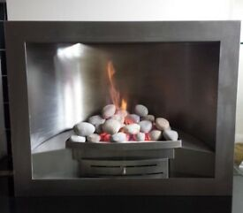 Genesis Spectra 4.0 KW Hole in the Wall Gas Fire (Brushed Steel)