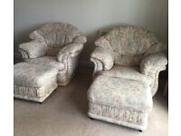 REDUCED! Three piece suite plus 2 footstools in excellent condition