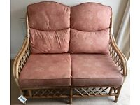"BRAND NEW 2 SEATER CANE HIGH BACKED SOFA WITH CUSHIONS - CONSERVATORY 48"" x 36"" x 28"""
