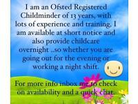 Emergency/overnight Ofsted RegisteredChildcare