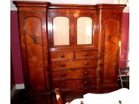 LARGE SPECTACULAR ANTIQUE beautiful Victorian Burr Walnut Breakfront Combination Compactum Wardrobe