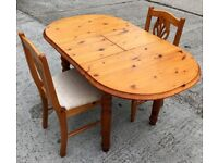SMALL SOLID PINE DINING TABLE & TWO CHAIRS